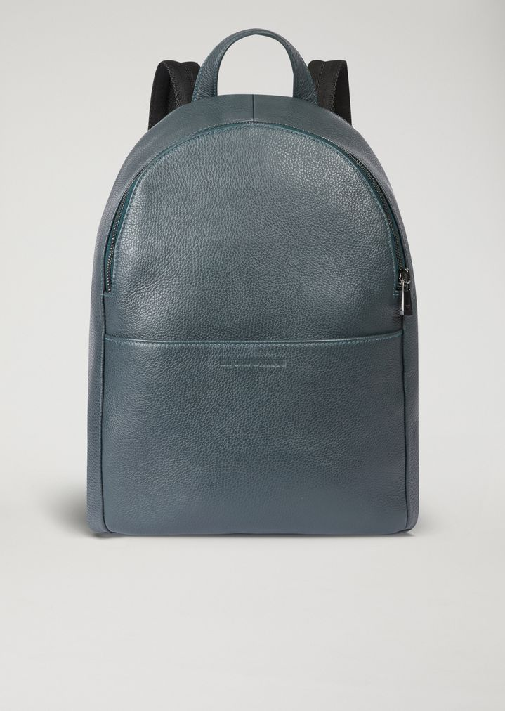 Backpack in grained leather with pressed front logo  b45af9bbc4113