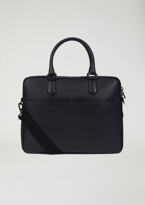 Leather briefcase with detachable shoulder strap
