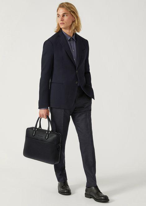 Leather briefcase with detachable shoulder strap