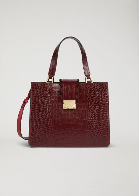 Handbag in croc print leather with zigzag detail