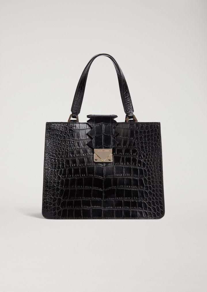 Sac à main en cuir imprimé crocodile avec détail zigzag   Femme   Emporio  Armani aec22935429