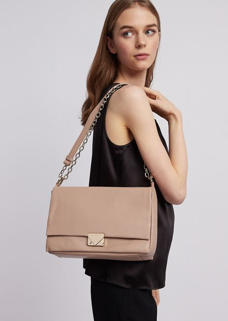 Hammered leather shoulder bag