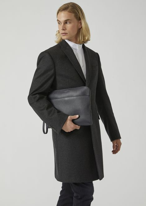 Grained leather document briefcase