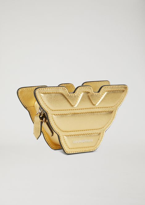 Eagle-shaped mini-bag in laminated leather with shoulder strap