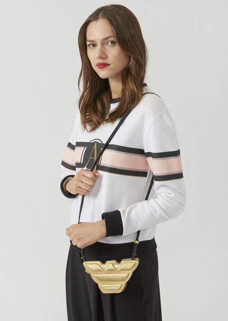 Mini-bag a forma di aquila in pelle laminata con tracolla