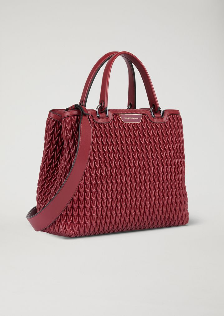 8f5a866528f ... Woman · Top Handles  Shopping bag in quilted faux nappa leather with  teardrop motif. EMPORIO ARMANI