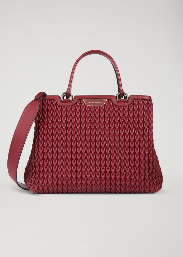 1844fb35a6d Shopping bag in quilted faux nappa leather with teardrop motif   Woman   Emporio  Armani
