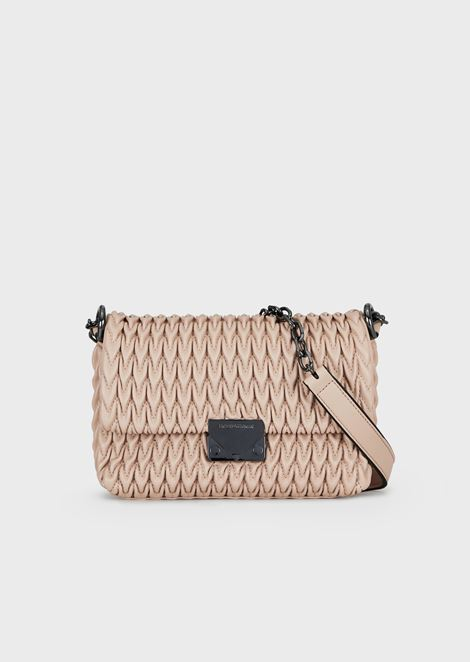 Quilted faux-nappa cross-body bag with drop motif