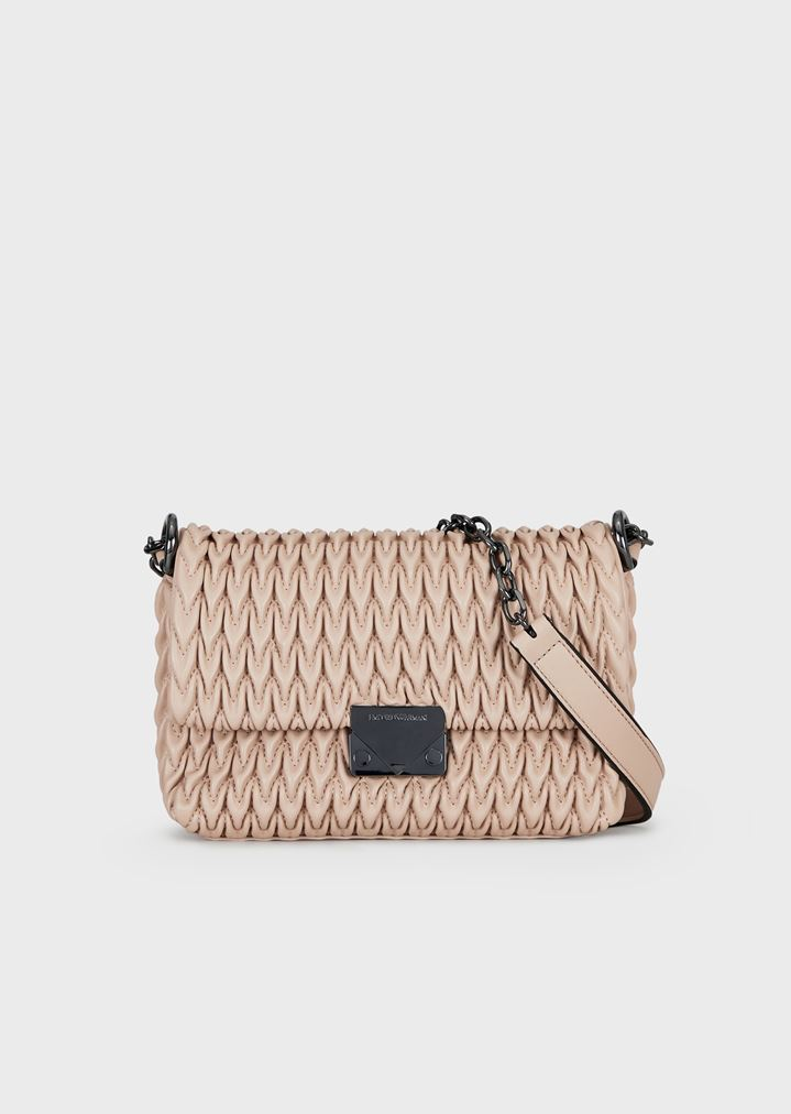 dd65e3c1ee5 Quilted faux-nappa cross-body bag with drop motif   Woman   Emporio Armani