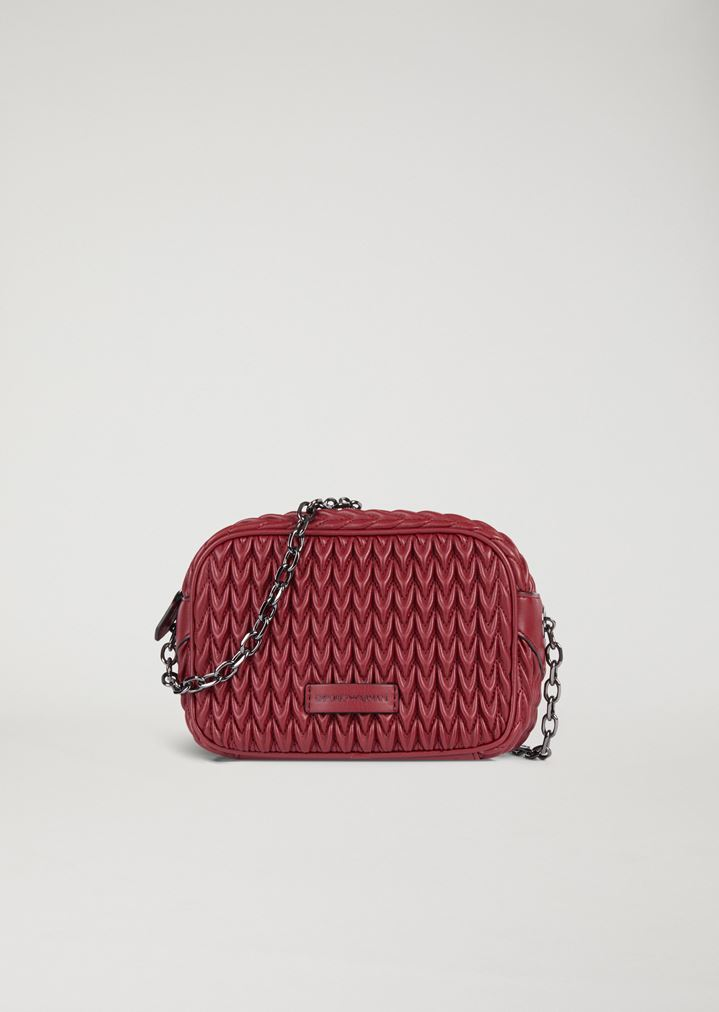1a501c495b6 Mini-bag in quilted faux nappa leather with teardrop motif   Woman   Emporio  Armani