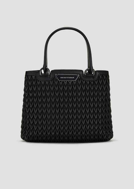 Shopping bag in quilted faux nappa with drop motif