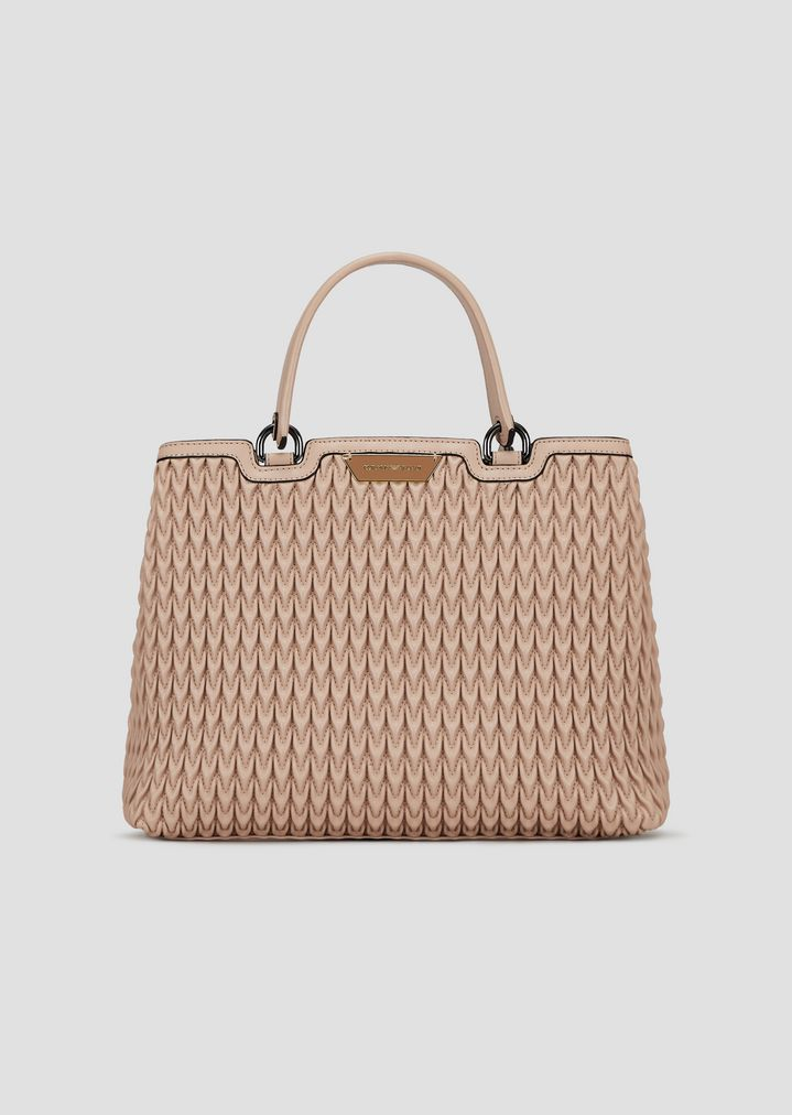 Shopping bag in quilted faux nappa with drop motif  5c7f1c03ff05d
