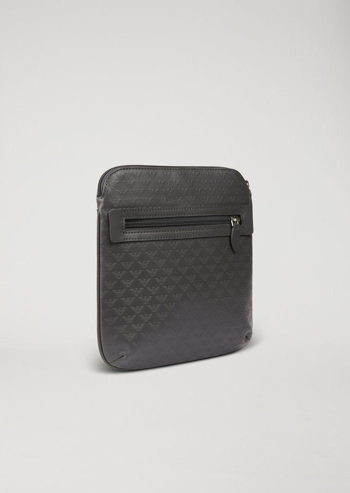424282af05f Leather messenger bag with shoulder strap and all-over logo print ...