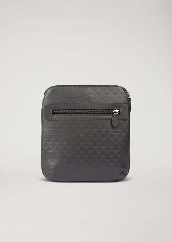 74f4d99691a64 EMPORIO ARMANI Leather messenger bag with shoulder strap and all-over logo  print Crossbody Bag