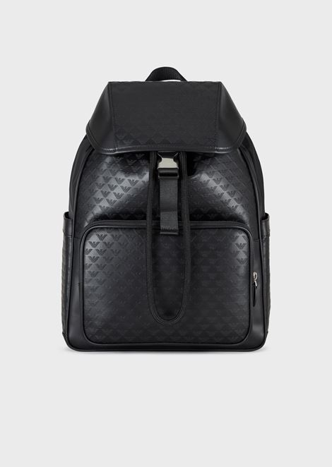 Leather backpack with side pockets and all-over logo print