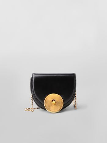 Marni MONILE bag in black leather  Woman