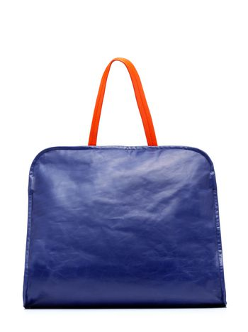 Marni Borsa CUSHION in vitello blu e arancio Donna