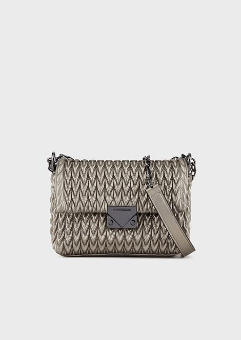Cross body bag in quilted faux nappa leather with teardrop motif
