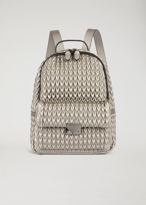 Quilted faux nappa backpack with drop pattern