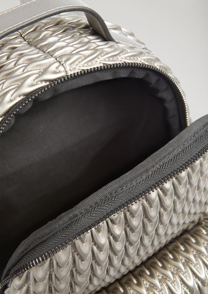 324f815dc63 EMPORIO ARMANI Quilted faux nappa backpack with drop pattern Backpack Woman  a