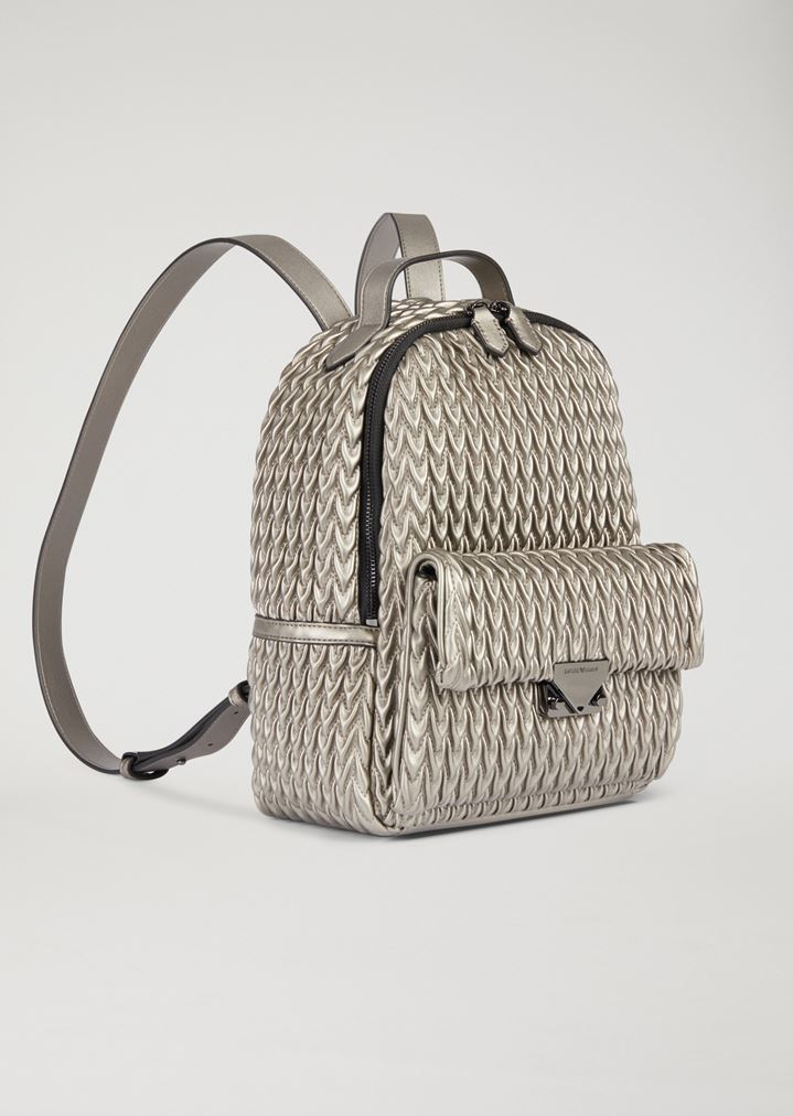 d7517456957 EMPORIO ARMANI Quilted faux nappa backpack with drop pattern Backpack Woman  d