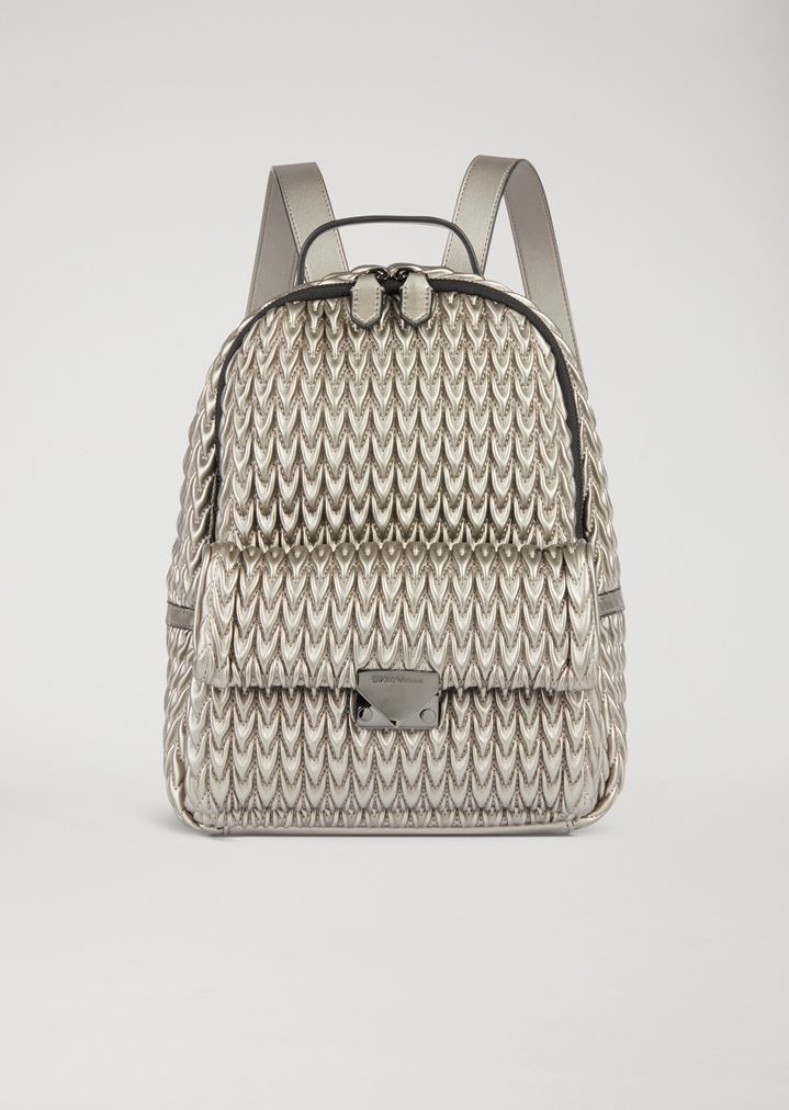 bd7fe2869f2 EMPORIO ARMANI Quilted faux nappa backpack with drop pattern Backpack Woman  f