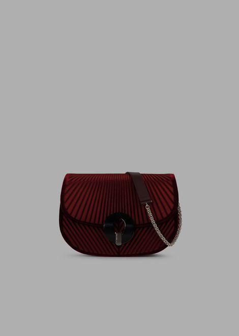 Chevron velvet crossbody bag with satin base
