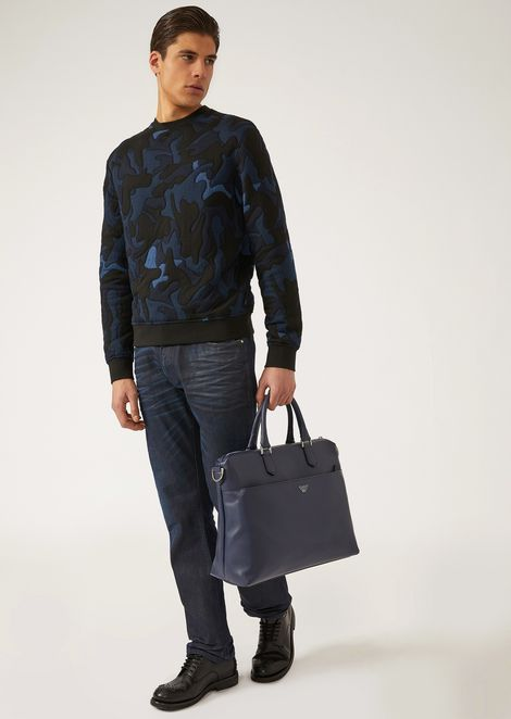Boarded printed leather holdall with logo shoulder strap
