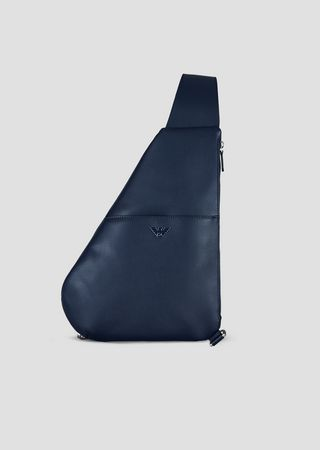 bbff9cb23e Single strap backpack in boarded leather with metal logo