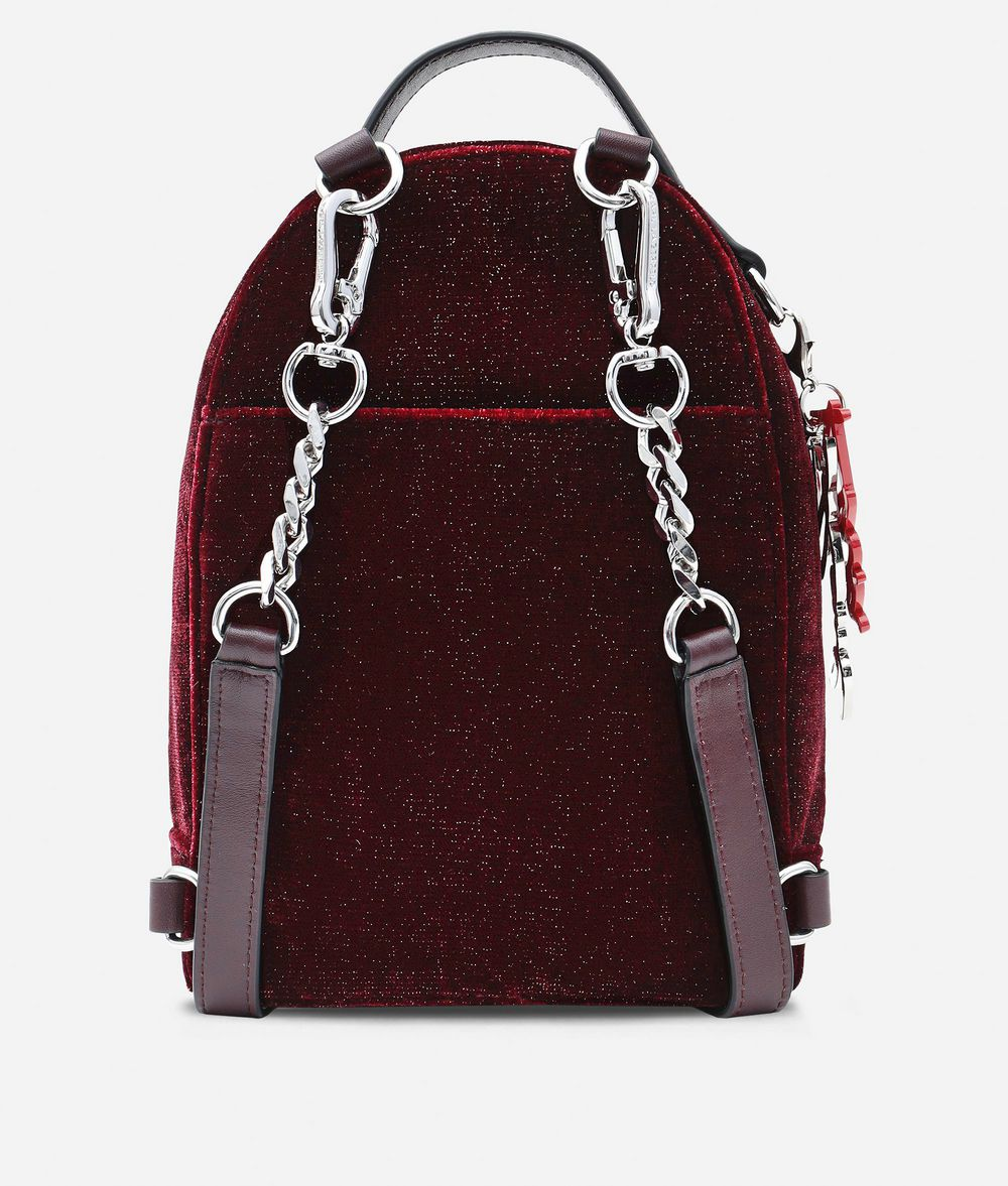 KARL LAGERFELD Karl X Kaia Glitter Velvet Mini Backpack Backpack Woman d
