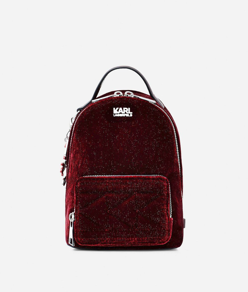 KARL LAGERFELD Karl X Kaia Glitter Velvet Mini Backpack Backpack Woman f
