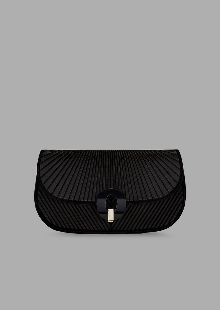 88cbcb0573 Satin clutch bag with laser-etched chevron design in velvet