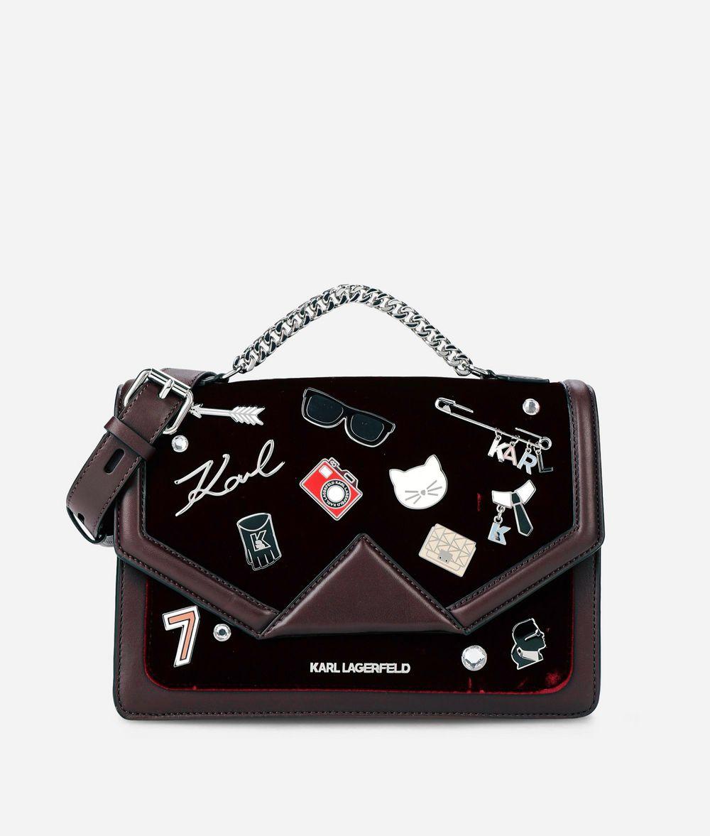 KARL LAGERFELD K/Klassik Schultertasche aus Leder mit Ansteckern Schultertasche Damen f