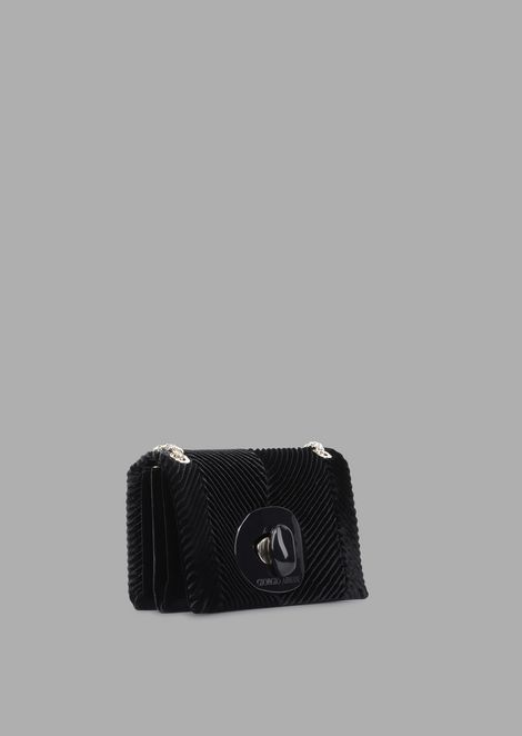 Pleated velvet mini crossbody bag with exclusive fastening
