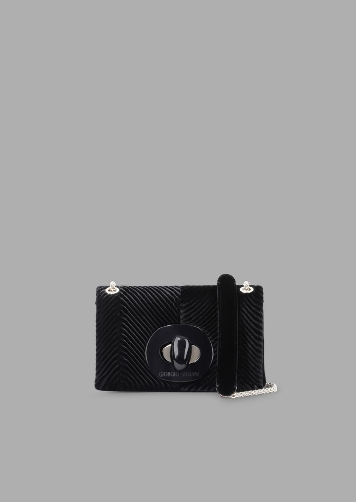 8e8640d840 Pleated velvet mini crossbody bag with exclusive fastening