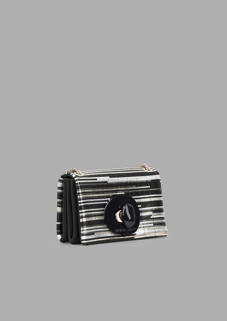 Mini crossbody bag in inlaid laminated nappa leather with exclusive fastening