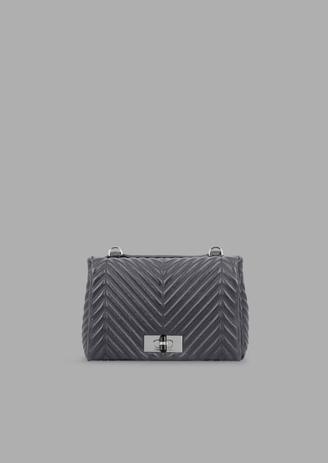 Metallised and pleated leather shoulder bag with turn lock