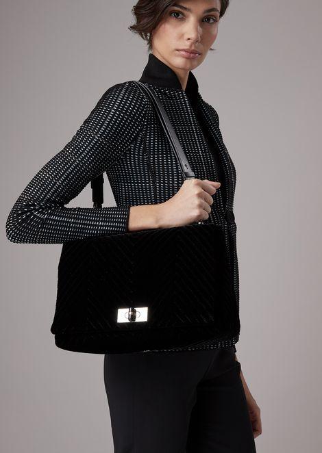 Chevron velvet shoulder bag with turn lock