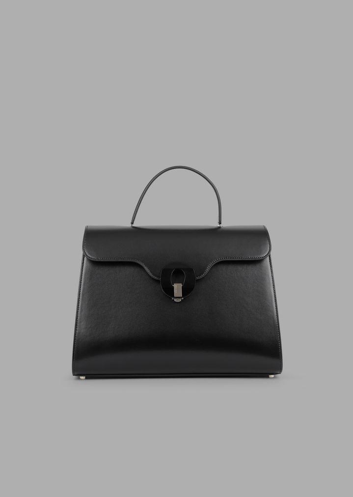 3434f003bc Smooth leather handbag with Plexiglas closure