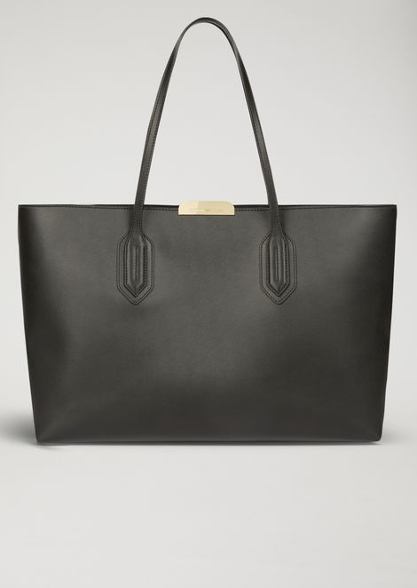 Leather tote bag with metallic logo detail