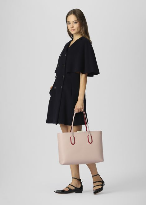 Leather tote bag with metal logo detail