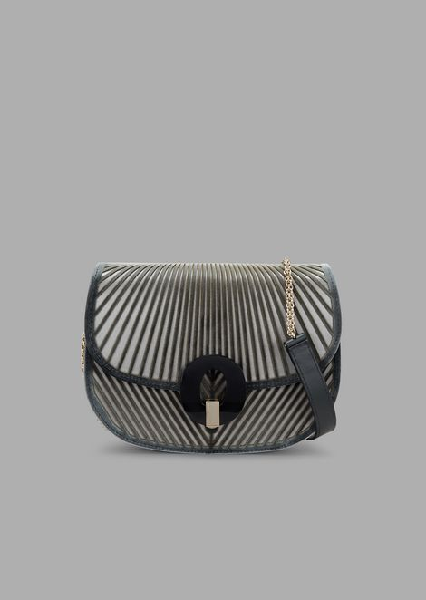 Shoulder bag in chevron velvet with satin base