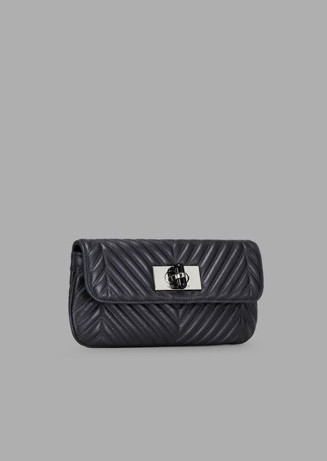 Metallic and pleated leather clutch with a shoulder strap