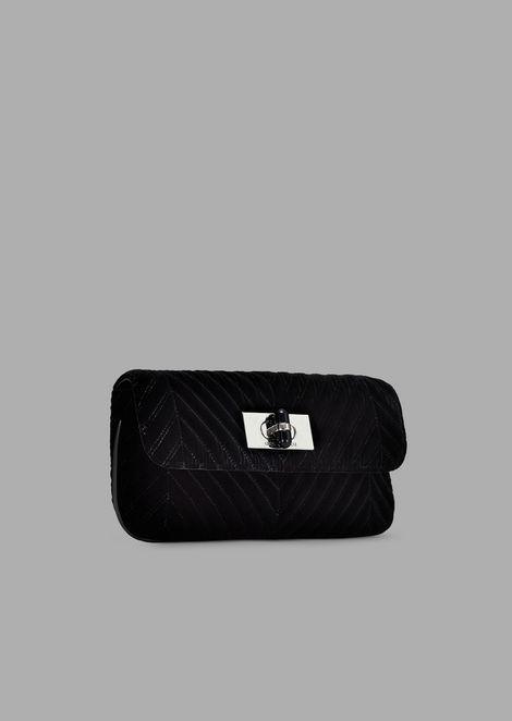 Velvet cross-body bag with chevron stitching