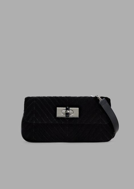 Velvet shoulder bag with chevron stitching