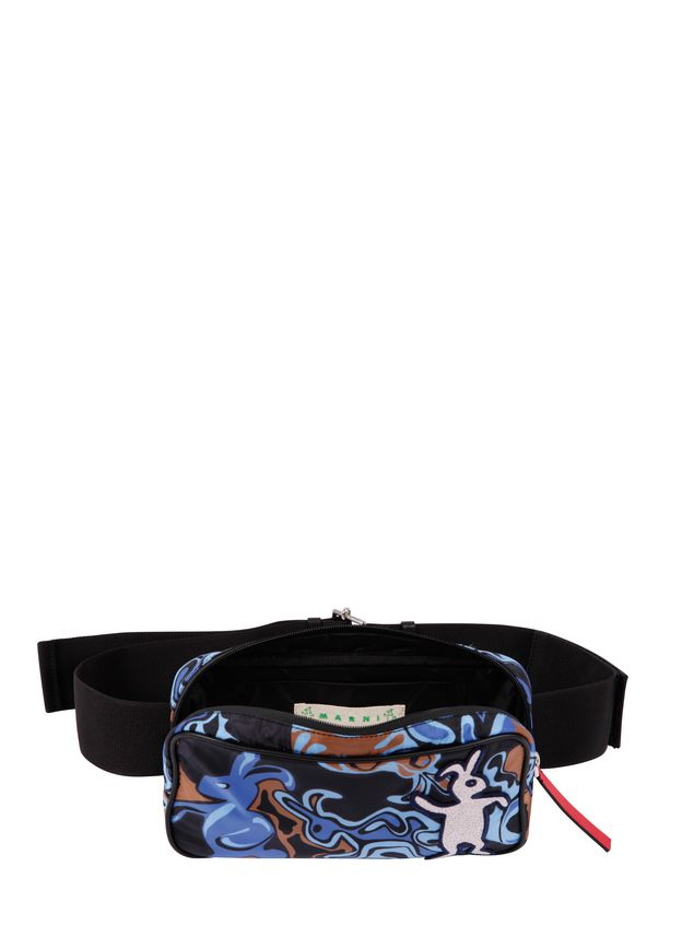 Marni Belt bag in light nylon with Dance Bunny print Man - 4