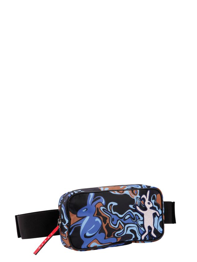 Marni Belt bag in light nylon with Dance Bunny print Man - 2