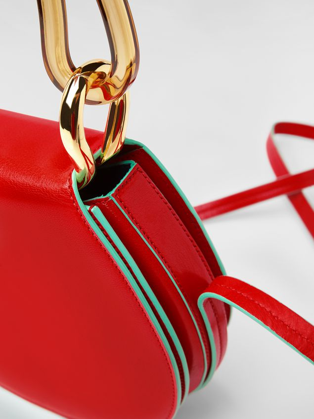 Marni SADDLE bag in red leather Woman - 5