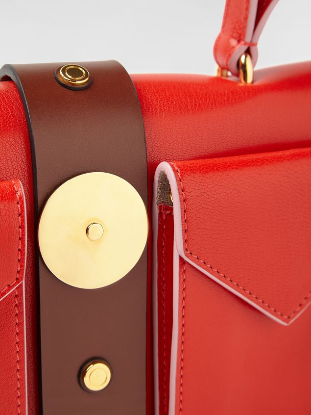 Marni PUNCH bag in red and brown leather  Woman - 4