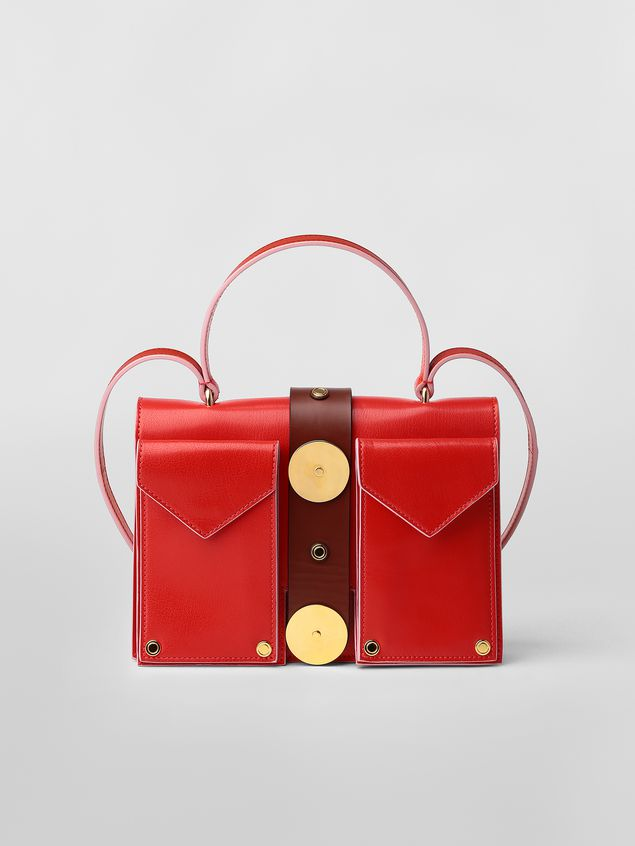 Marni PUNCH bag in red and brown leather  Woman - 1